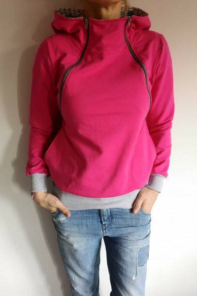 Breastfeeding cozy hoodie - HARD PINK! | Flamingolandia