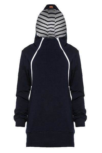Breastfeeding hoodie, black  - Marine stripes! | Flamingolandia