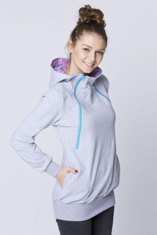 Breastfeeding light grey cozy hoodie - Turquize! | Flamingolandia