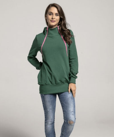 Breastfeeding green hoodie with pink zippers | Flamingolandia