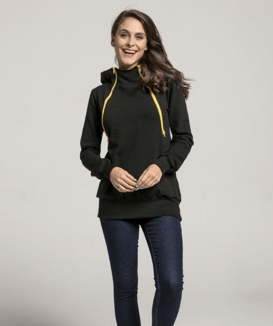 Breastfeeding black hoodie with yellow zippers | Flamingolandia