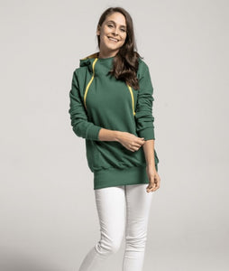Breastfeeding green hoodie with yellow zippers