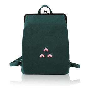 Canvas backpack with metal frame clasp  - 3 Triangles | Flamingolandia