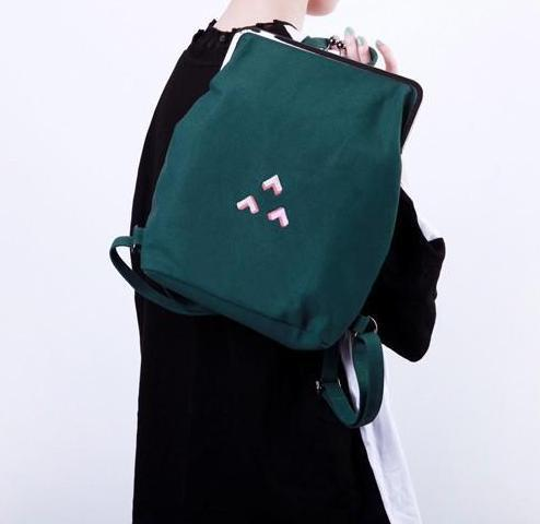 Canvas backpack with metal frame clasp  - 3 Triangles - Flamingolandia.online