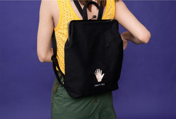 Canvas backpack with metal frame clasp  - Five from sky - Flamingolandia.online