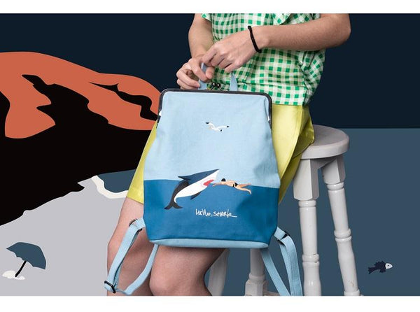 Canvas backpack with metal frame clasp - Hello shark,Bagpack- Flamingolandia.online
