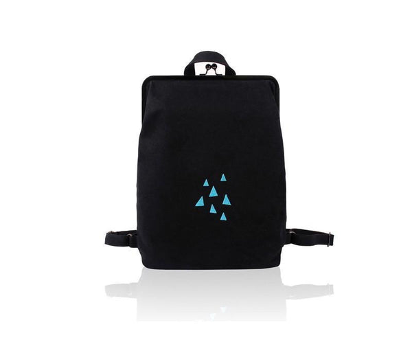 Canvas backpack with metal frame clasp  - Rainy triangles - Flamingolandia.online