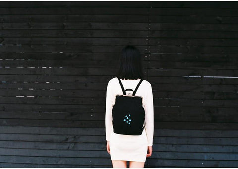 Canvas backpack with metal frame clasp  - Rainy triangles,Bagpack | Women fashio shop|  Flamingolandia.online