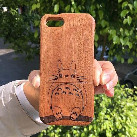 Carved Totoro Wood iPhone Case,Tech Accessories- Flamingolandia.online