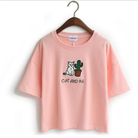 Casual loose t-shirt - cat & me,T-shirt | Women fashio shop|  Flamingolandia.online