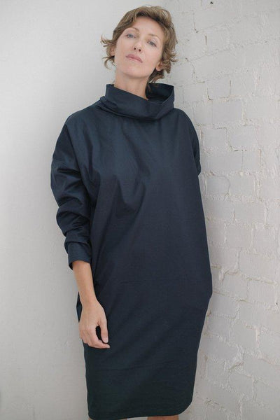 Cowl neck cotton casual navy dress  I  Whoosh,dress- Flamingolandia.online