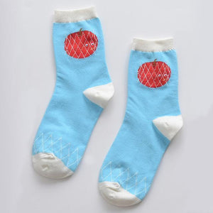 Cute blue socks with surprised tomato - Flamingolandia.online