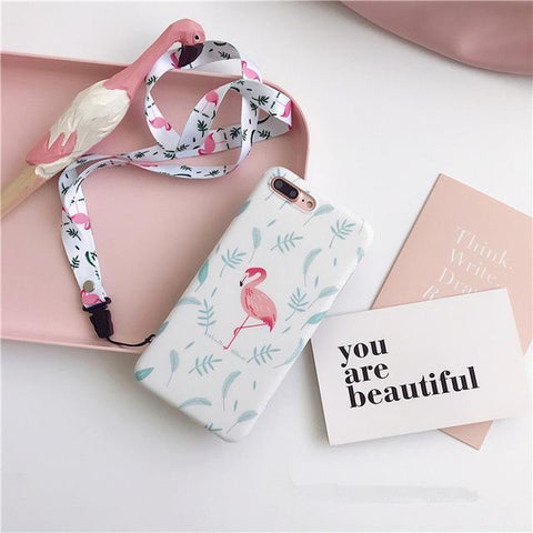 Cute flamingo in the  leaves  soft IMD phone case for iphone - blue - Flamingolandia.online