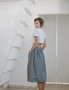 Elastic waist basic gray long skirt I Whoosh,skirt- Flamingolandia.online