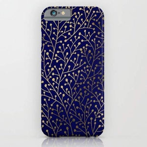 Gold Berry Branches on Navy Mobile Cover - Flamingolandia.online