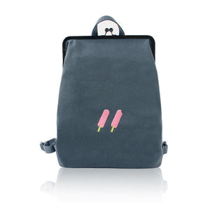 Grey Canvas backpack with metal frame clasp  - 2 Icecream | Flamingolandia