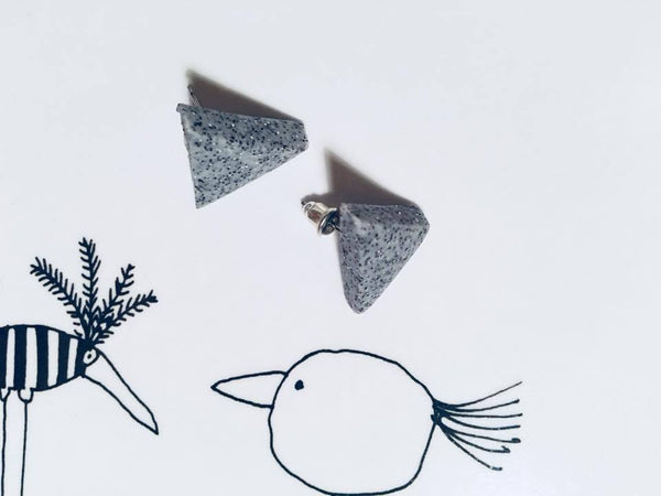 Handmade accesories VIŠTA - Grey earings | Flamingolandia