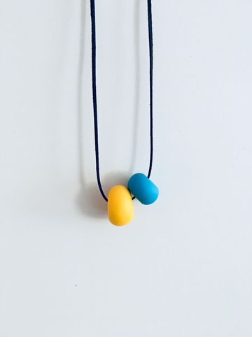 Handmade accesories VIŠTA - Yellow love goes blue,necklace- Flamingolandia.online