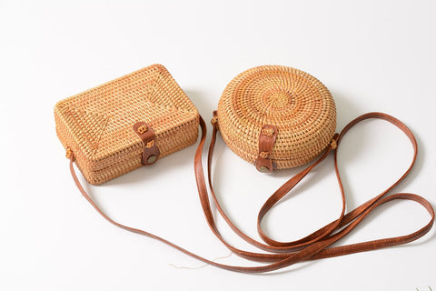Handmade Rattan Woven Round Crossbody Bag,Shoulder Bags | Women fashio shop|  Flamingolandia.online
