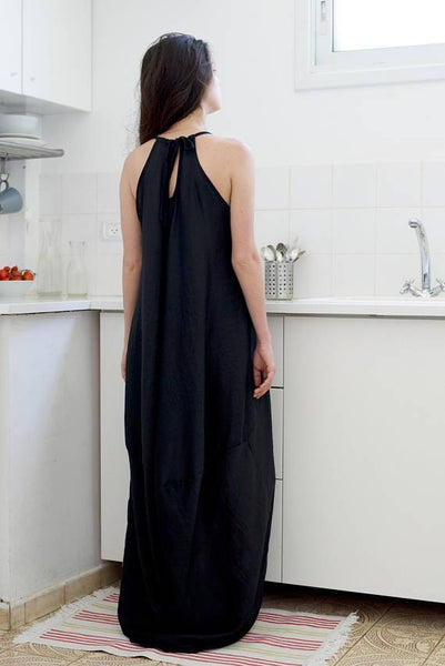 High low hem long summer dress  I  Black Tunic Whoosh,dress- Flamingolandia.online