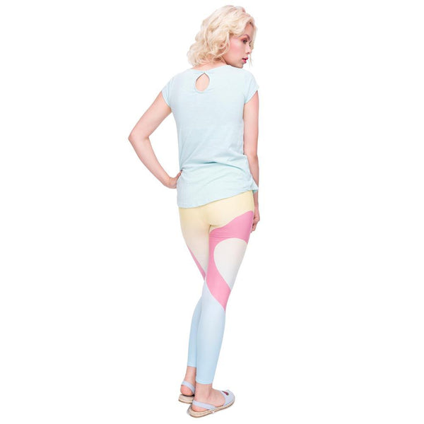 High waist Flamingo love leggings in light colors | Flamingolandia
