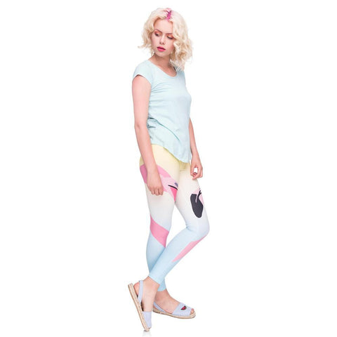 High waist Flamingo love leggings in light colors,Leggings- Flamingolandia.online