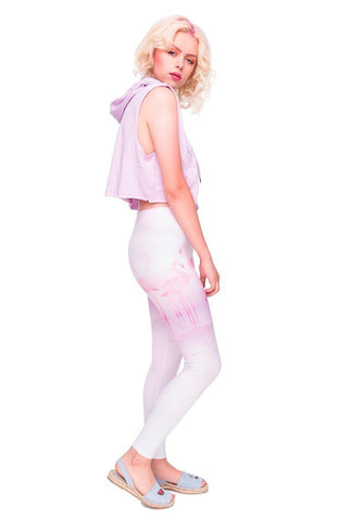 High waist stretchy leggings - Rosy Flamingo Dream,Leggings- Flamingolandia.online