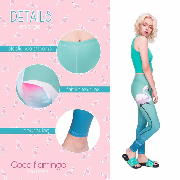 High Waist Woman Stretchy Leggings - Lonely flaminogs go blue,Leggings | Women fashio shop|  Flamingolandia.online