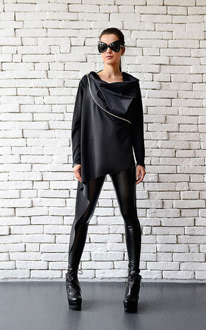 Asymmetric black tunic top Zipped collar | META seriesSweater - Flamingolandia.online