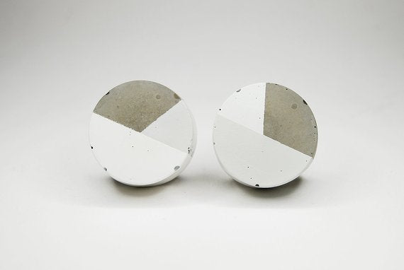 Concrete round cabinet Knob two colour design | White Greykabinet knob - Flamingolandia.online