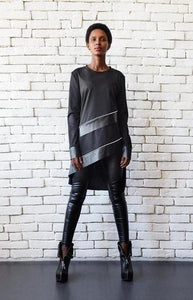 Asymmetric black leather stripes tunic top | META seriesSweater - Flamingolandia.online