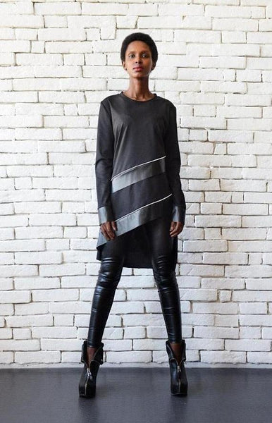 Asymmetric black leather stripes tunic top | META series,Sweater- Flamingolandia.online