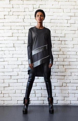 Asymmetric black leather stripes tunic top | META series | Flamingolandia