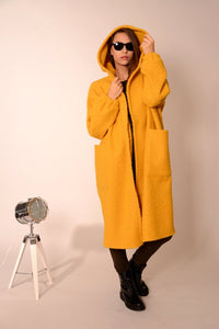 Wool oversized coat cardigan yellow | Danellys u10e6 | Flamingolandia