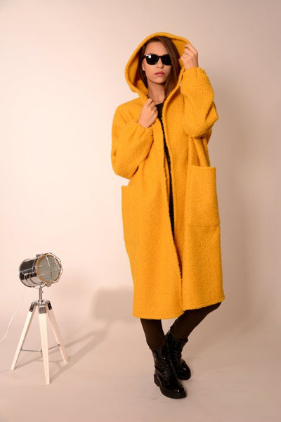 Wool oversized coat cardigan yellow | Danellys ღ,Coat- Flamingolandia.online