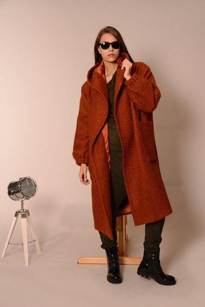 Wool oversized coat cardigan orange | Danellys ღ,Coat- Flamingolandia.online