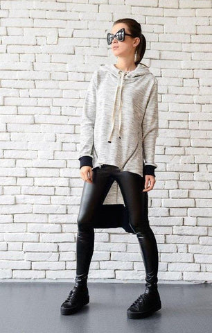 Oversize grey warm hoodie  | META series,Sweater | Women fashio shop|  Flamingolandia.online