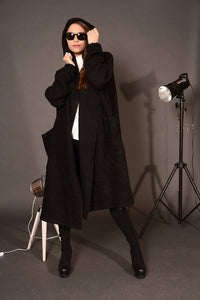 Wool oversized coat cardigan black | Danellys ღ,Coat- Flamingolandia.online
