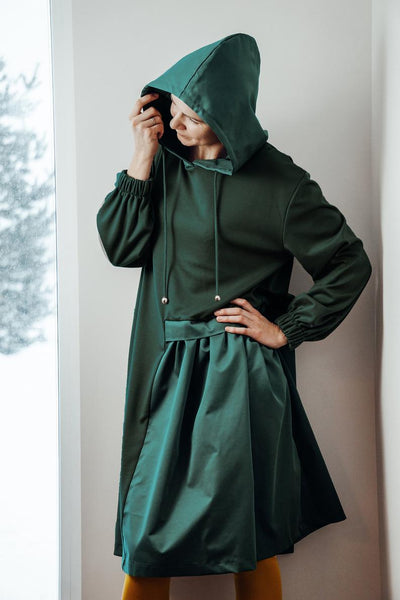 Hooded asymmetric dress dark green  | InModum | Flamingolandia