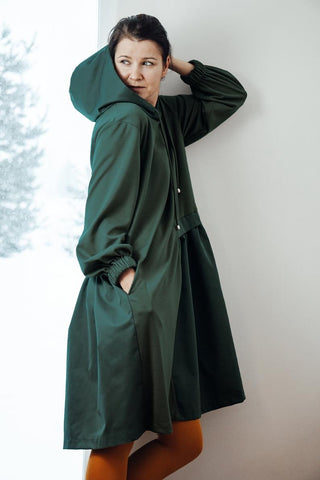 Hooded asymmetric dress dark green  | InModum,dress | Women fashio shop|  Flamingolandia.online