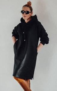 Large black cotton dress with hood InModum | Flamingolandia