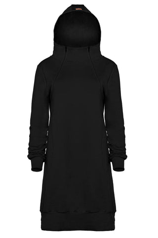 Breastfeeding, nursing trendy hoodie dress- Black hoodie! | Flamingolandia