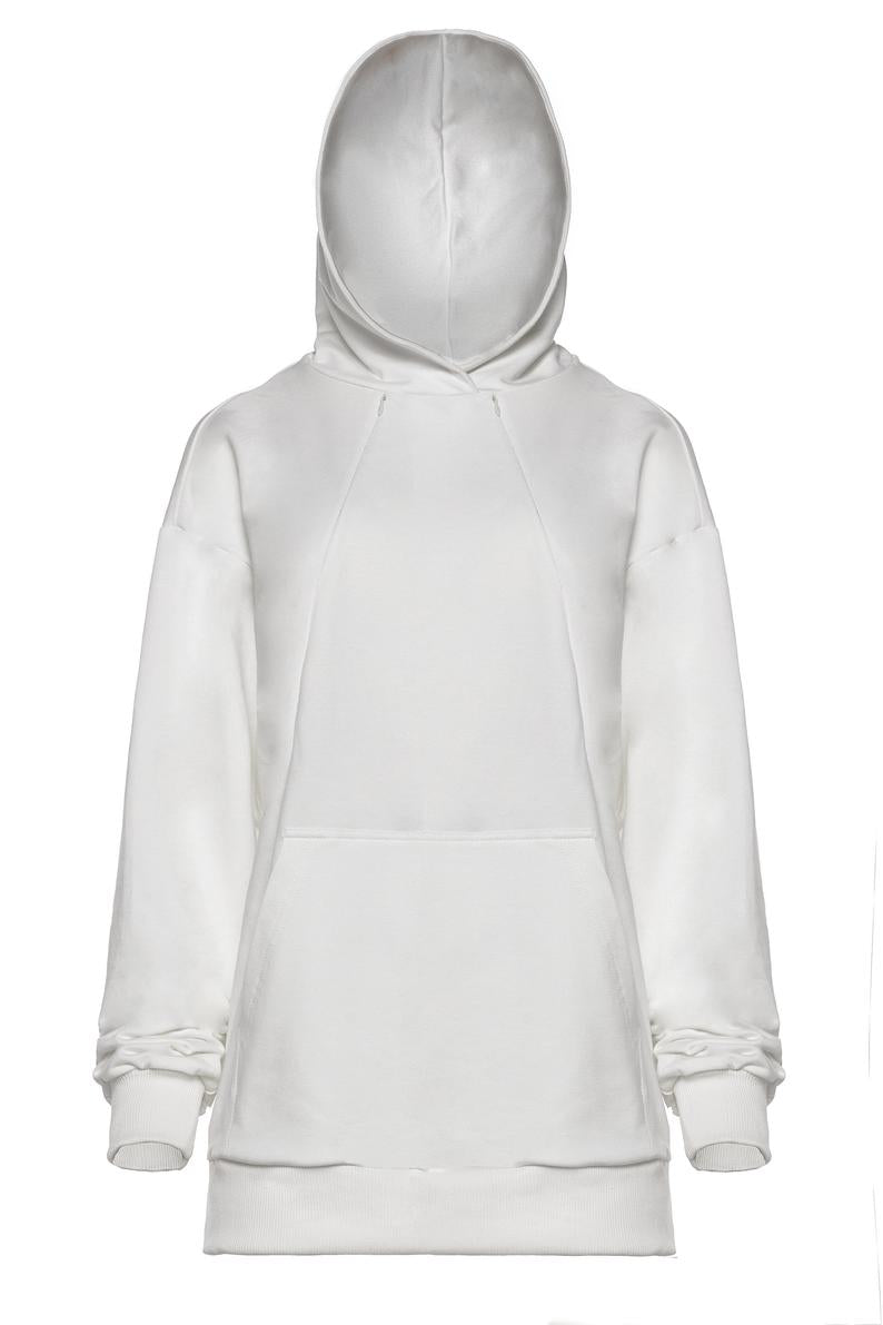 Breastfeeding cozy hoodie - White/Ecru | Flamingolandia