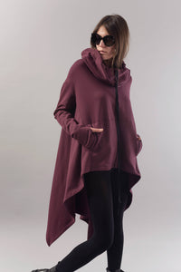Asymetric long hooded burgundy sweater | Danellys u10e6 | Flamingolandia