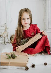 Red girl Christmas dress,girl dress | Women fashio shop|  Flamingolandia.online