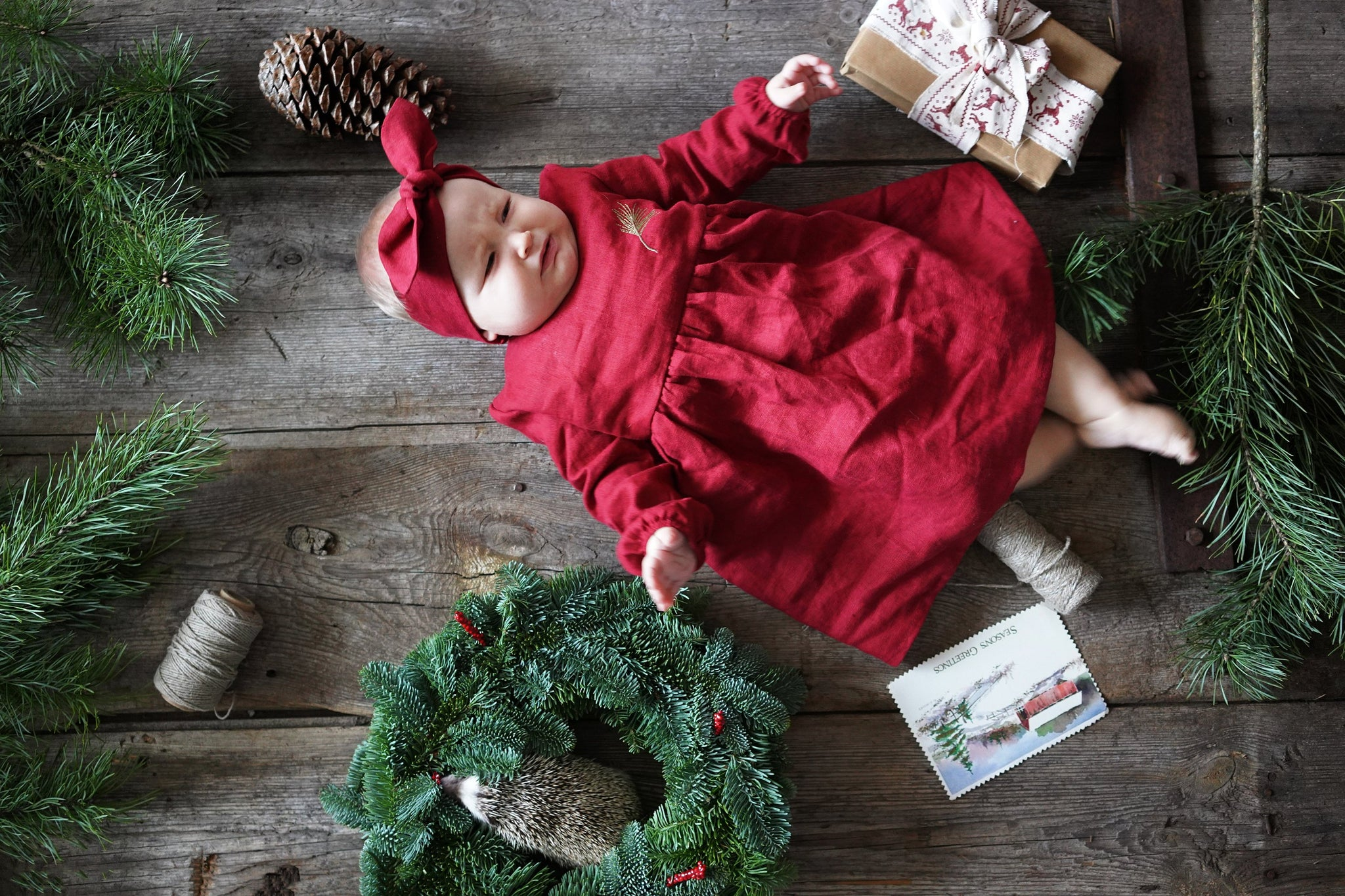Baby girl first Christmas dress | Flamingolandia