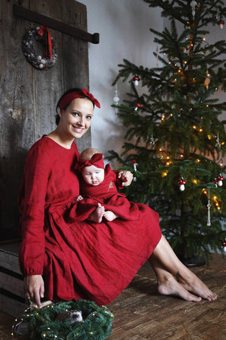 Bordeaux Christmas linen dress