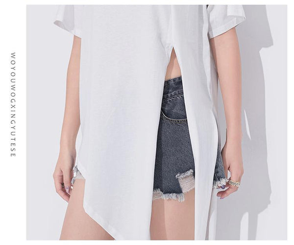 Irregular Spilt Hem Loose T-Shirt | Flamingolandia