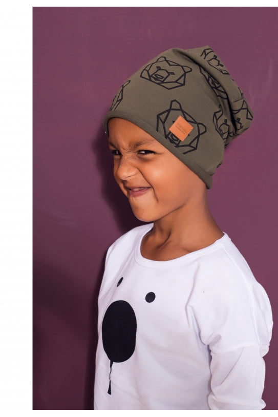 Kid brown cotton cap -  Bears! | Flamingolandia