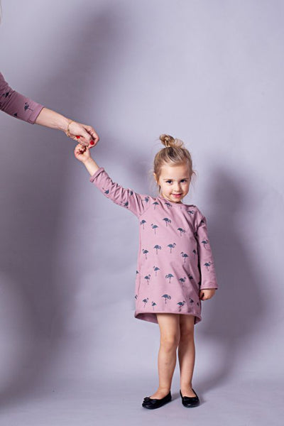 Long sleeve casual mini dress - Flamingo family!,girl dress | Women fashio shop|  Flamingolandia.online